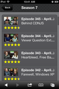 The greatly improved episode list on version 4β of our mobile site.
