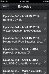 The episode list on our mobile site version 3.1.